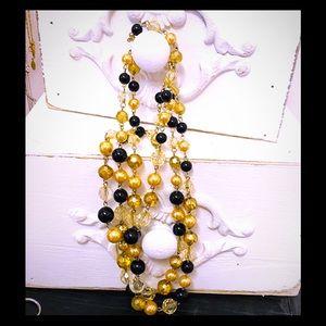 Necklace Vintage Multi Strand gold/black